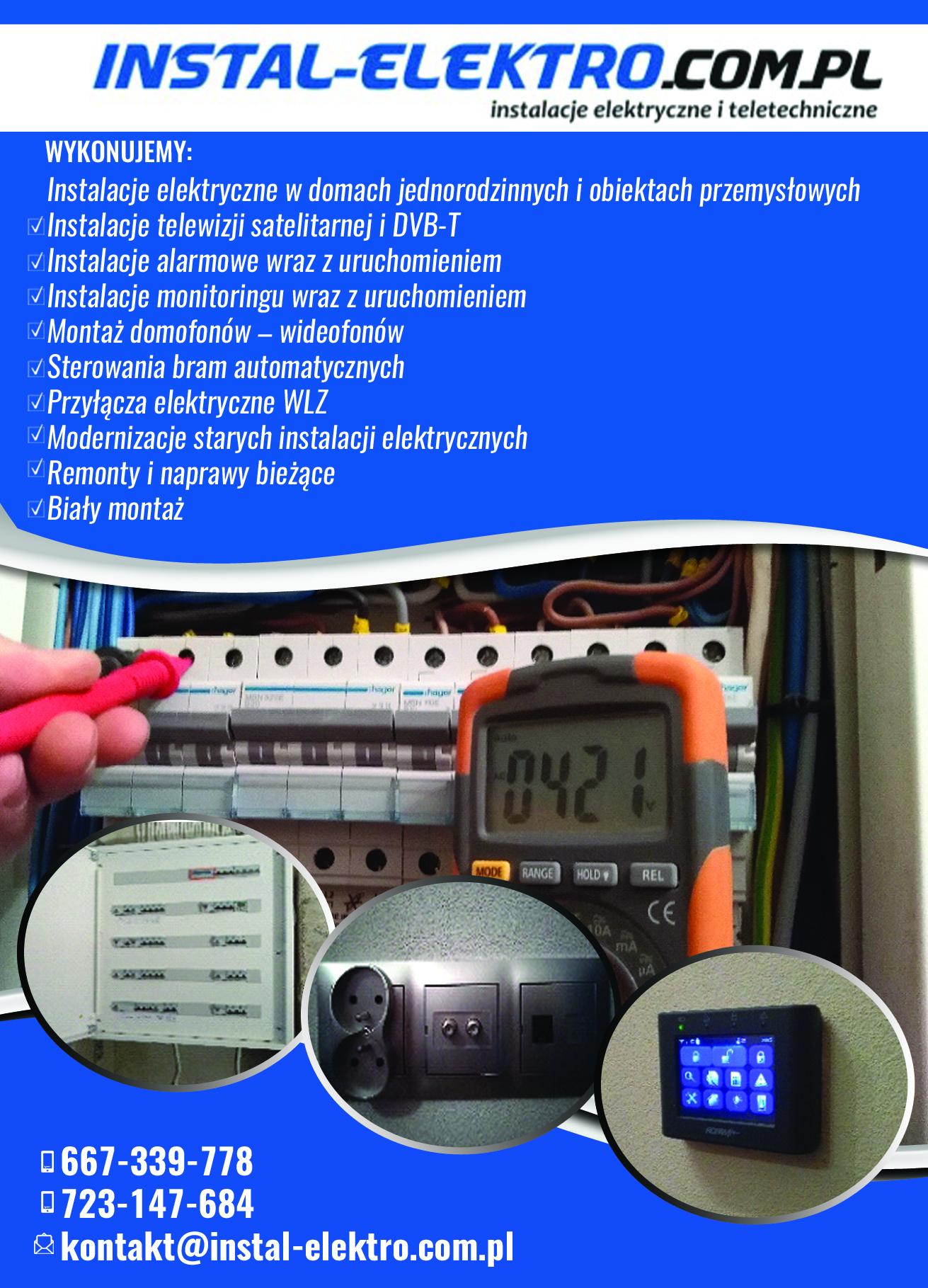 instalacje elektryczne, alarmy, monitoring, remonty, naprawy, biały montaż